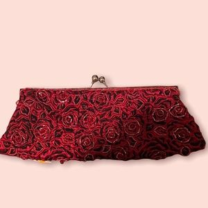Red Rose Beaded Vintage Clutch/Evening Bag